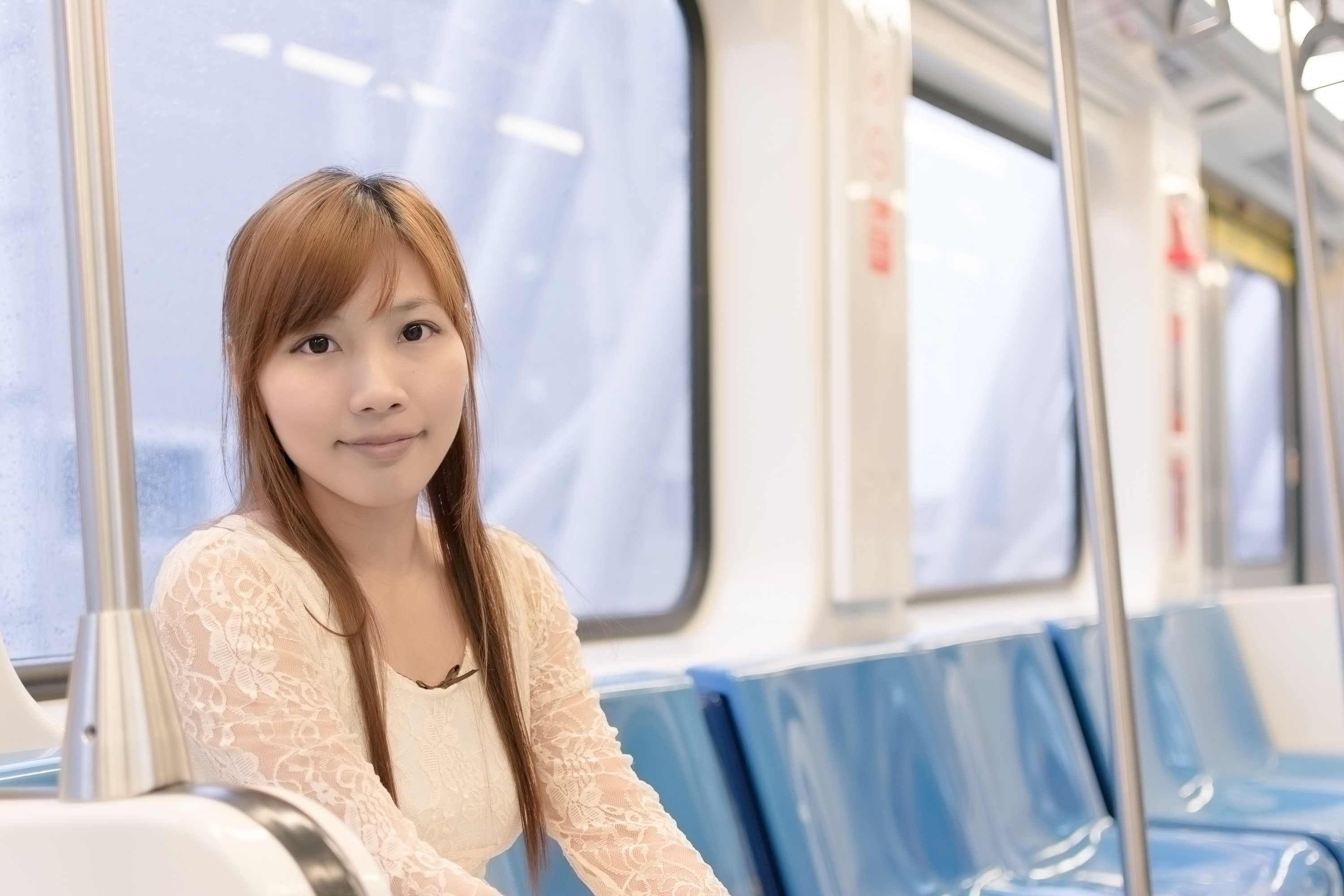 Asian beauty in MRT carriages, Taipei, Taiwan.